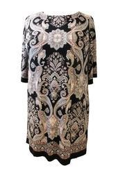 Paisley Knit Shift Dress (Plus Size)