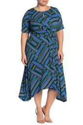Geometric Front Tie Midi Dress (Plus Size)