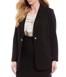 Plus Size Stretch Woven Suiting Two Pearl Button Jacket