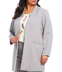 Plus Size Stretch Woven Suiting Open Front Jacket