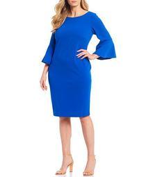 Plus Size Scuba Crepe Bell Sleeve Knee Length Sheath Dress