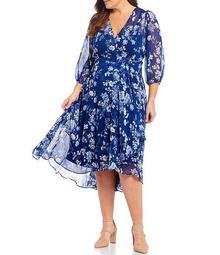 Plus Size 3/4 Balloon Sleeve V-Neck Floral Midi Dress