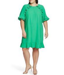 Plus Size Short Sleeve Ruffled Moss Crepe Shift Dress
