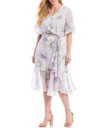 Plus Size Floral Print Tiered Ruffle Short Sleeve Midi Length Wrap Dress