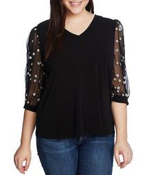 Cece Plus Size V-Neck 3/4 Floral Sleeve Mixed Media Knit Top