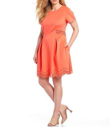 Plus Size Short Sleeve Laser Cut Scallop Hem Fit And Flare Dress