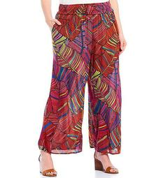 Plus Size Palm Printed Wide Leg Pants