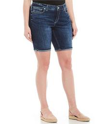 Plus Size Suki Cuffed Denim Bermuda Shorts
