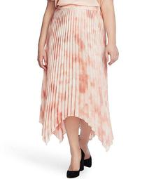 Plus Size Pleated Tie Dye Asymmetrical Midi Skirt