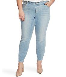 Plus Size Lace Side Skinny Ankle Jeans