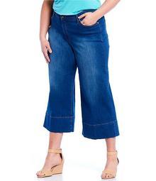 Plus Size Wide Leg Cropped Jeans