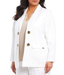 Plus Size Double Breasted Linen Blend Jacket