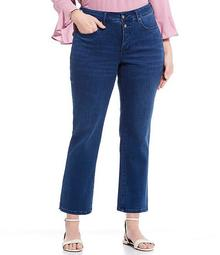 Plus Size Marilyn Concealed Snap Waist Straight Leg Ankle Jeans