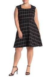 Eve Jacquard Windowpane Print Fit and Flare Dress (Plus Size)