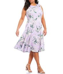 Plus Size Floral A-Line Sleeveless Scuba Midi Dress