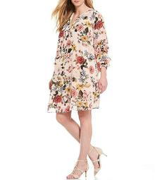Plus Size Ruched Long Sleeve Floral Print Shift Dress
