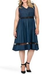 Julia Tie Waist Tencel Fit & Flare Dress (Plus Size)