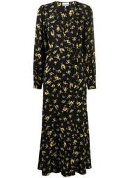maxi floral print wrap dress