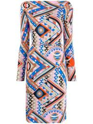 graphic-print fitted dress