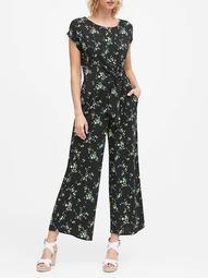 Print Tie-Front Cropped Jumpsuit