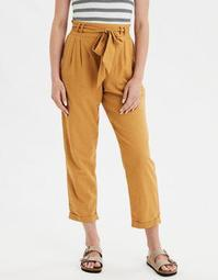 AE High-Waisted Striped Tie Front Slim Pant