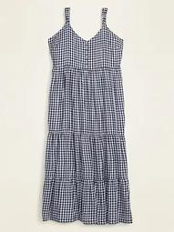 Gingham Tiered Plus-Size Maxi Sundress