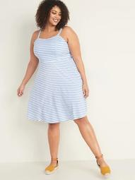 Striped Fit & Flare Plus-Size Cami Dress
