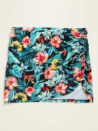 High-Waisted Floral-Print Secret-Slim Plus-Size Swim Skirt