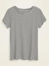 Slim-Fit Striped Rib-Knit Plus-Size Tee
