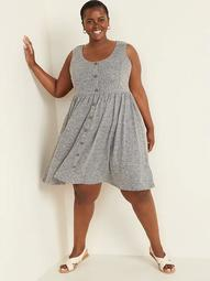 Fit & Flare Linen-Blend Button-Front Plus-Size Sleeveless Dress