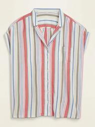 Multi-Stripe No-Peek Plus-Size Camp Shirt