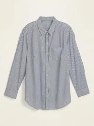 Striped No-Peek Plus-Size Stretch Shirt