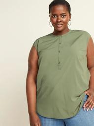 Banded-Collar No-Peek Plus-Size Sleeveless Stretch Tunic