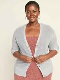 Textured Open-Knit Button-Front Plus-Size Cardigan