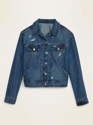 Distressed Plus-Size Cropped Jean Jacket