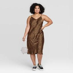 Women's Plus Size Leopard Print Sleeveless Satin Slip Dress - A New Day™ Brown