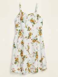 Printed Linen-Blend Fit & Flare Plus-Size Cami Sundress