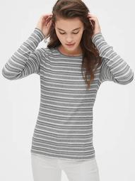 Featherweight Ribbed Stripe Long Sleeve Crewneck T-Shirt