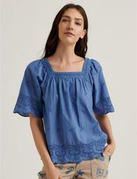Lace Mix Short Sleeve Peasant Top