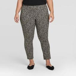 Women's Plus Size Leopard Print Skinny Ankle Pants - A New Day™ Brown