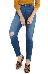 10-Inch Drop Step Hem High Waist Skinny Jeans (Regular & Plus Size)