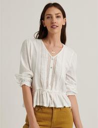 Lace Tie Waist 3q Sleeve Top