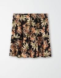 AE High-Waisted Printed Ruffled Mini Skirt