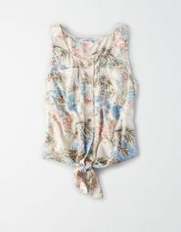 AE Tropical Button Front Tank Top