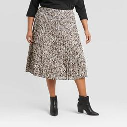 Women's Plus Size Leopard Print Pleated Midi Skirt - A New Day™ Black/White