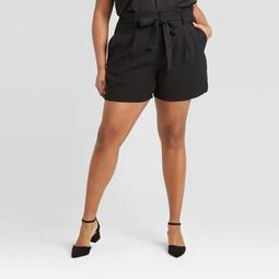 Women's Plus Size High-Rise Paperbag Shorts - A New Day™