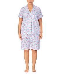 Plus Size Floral Woven Bermuda Pajama Set