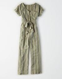 AE Tie Waist Short Sleeve Utility Jumpsuit