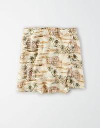 AE High-Waisted Printed Wrap Mini Skirt