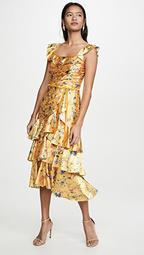 Sleeveless Printed Charmeuse Tiered Cocktail Dress